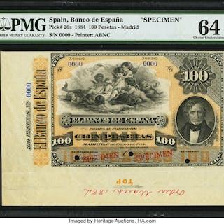 Spain Banco de Espana 100 Pesetas 1.1.1884 Pick 26s Specimen PMG Choice