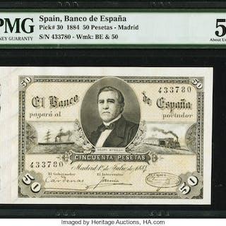 Spain Banco de Espana, Madrid 50 Pesetas 1.7.1884 Pick 30 PMG About