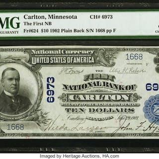 Carlton, MN - $10 1902 Plain Back Fr. 624 The First NB Ch. # 6973