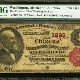 Washington City, DC - $5 1882 Brown Back Fr. 472 The Citizens NB Ch.