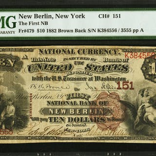 New Berlin, NY - $10 1882 Brown Back Fr. 479 The First NB Ch. # 151