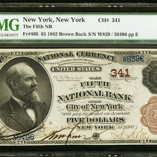 New York, NY - $5 1882 Brown Back Fr. 466 The Fifth NB Ch. # 341 PMG