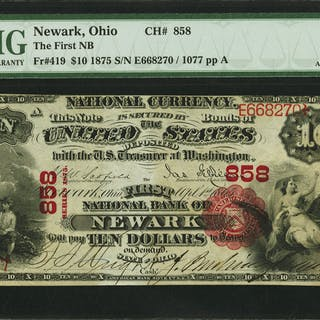 Newark, OH - $10 1875 Fr. 419 The First NB Ch. # 858 PMG About Uncirculated