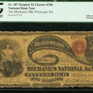 Pittsburgh, PA - $2 Original Fr. 387 The Mechanics NB Ch. # 700 PCGS