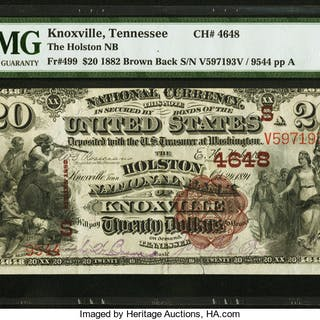Knoxville, TN - $20 1882 Brown Back Fr. 499 The Holston NB Ch. # (S)4648