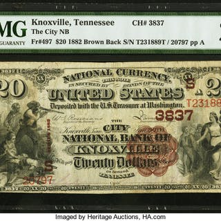 Knoxville, TN - $20 1882 Brown Back Fr. 497 The City NB Ch. # (S)3837