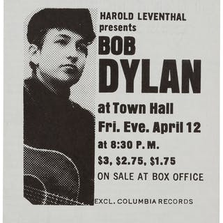 Bob Dylan Previously Unknown 1963 Concert Handbill for First Major