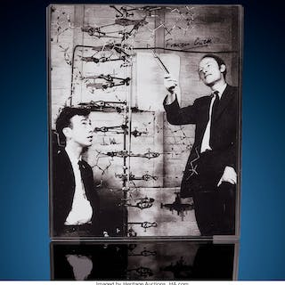 """James Watson & Francis Crick with a """"DNA"""" Model Signed Photograph 8"""" x 10""""  ..."""