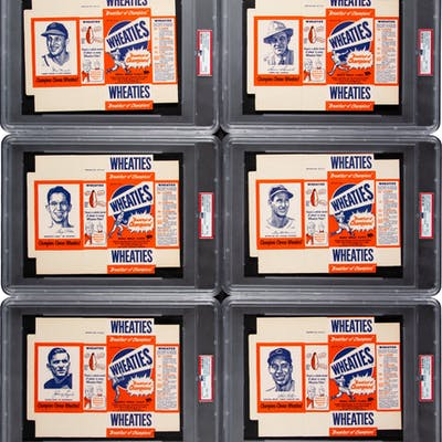 1951 Wheaties Unfolded Boxes High-Grade Complete Set (6).