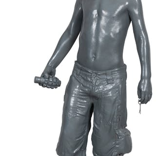 Schoony (British, b. 1974) Boy Soldier, 2019 Fiberglass 46-1/2 x 24