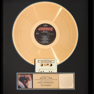 Bon Jovi 7800° Fahrenheit RIAA Hologram Gold Sales Award (Mercury, 1985).  ...