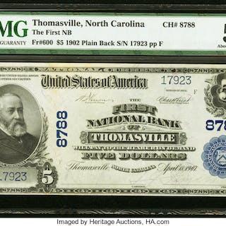 Thomasville, NC - $5 1902 Plain Back Fr. 600 The First NB Ch. # 8788