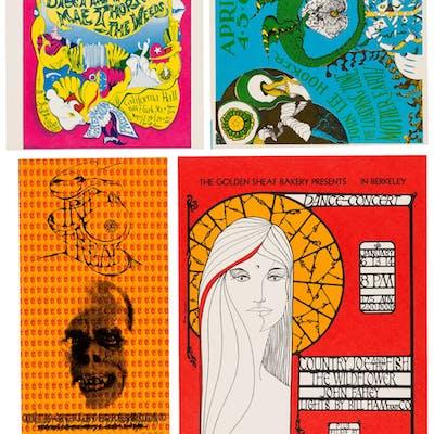 San Francisco Psychedelic Rock 1960's Postcard-Handbills (4). ...