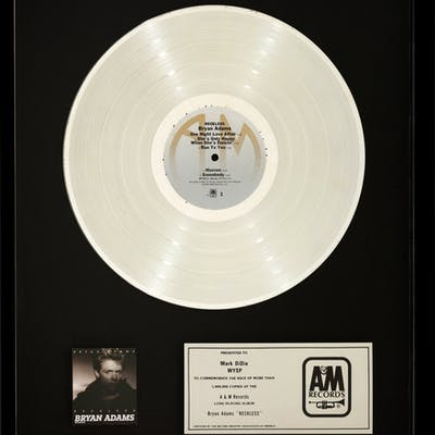 Bryan Adams Reckless In-House Platinum Sales Award (A&M, 1984).  ...
