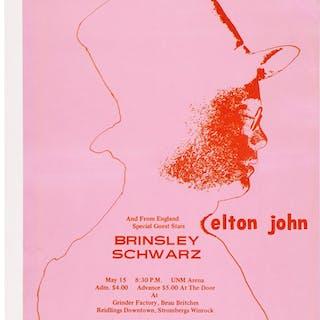Elton John/Brinsley Schwarz UNM Arena Concert Poster (1971).  ...