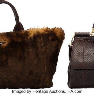 Set of Two: Dolce & Gabbana Brown Python Sicily Bag & Prada Brown