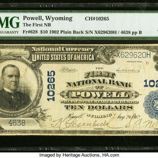 Powell, WY - $10 1902 Plain Back Fr. 628 The First NB Ch. # 10265