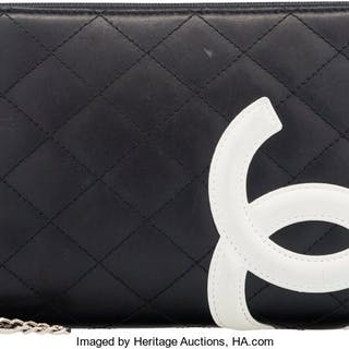 Chanel Black & White Quilted Lambskin Leather Wallet Condition: 3