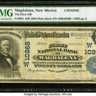 Magdalena, NM - $20 1902 Plain Back Fr. 654 The First NB Ch. # (W)10268