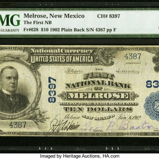 Melrose, NM - $10 1902 Plain Back Fr. 628 The First NB Ch. # 8397