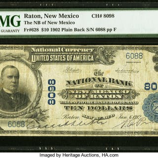 Raton, NM - $10 1902 Plain Back Fr. 628 The NB of New Mexico Ch. #