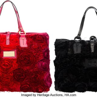 Valentino Set of Two: Pink & Black Fabric Flower Tote Bags Condition: