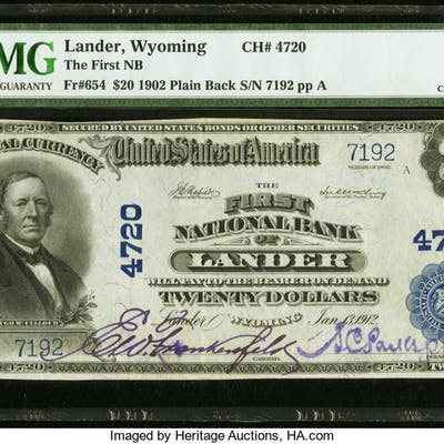 Lander, WY - $20 1902 Plain Back Fr. 654 The First NB Ch. # 4720 PMG