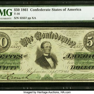 Bust of President Jefferson Davis at center. Black with green overprint.