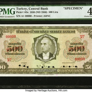 Turkey Central Bank of Turkey 500 Lira ND (1946) Pick 145s Specimen