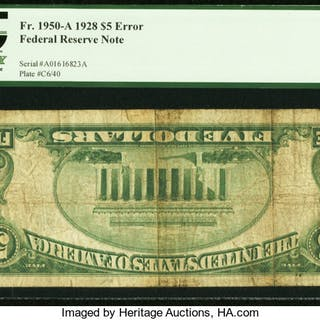 Fr. 1950-A $5 1928 Federal Reserve Note. PCGS Very Good 10. ...