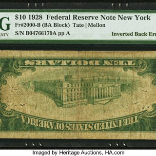 Fr. 2000-B $10 1928 Federal Reserve Note. PMG Very Good 10. ...