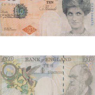 Banksy X Banksy of England Di-Faced Tenner, 10 GBP Note (2 works)