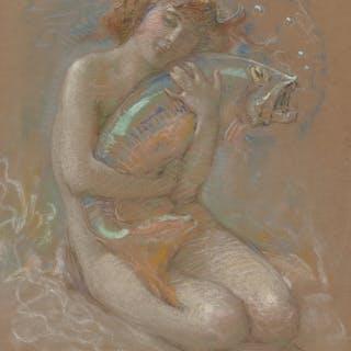 Arthur Prince Spear (American, 1879-1959) River Nymph, 1921 Pastel