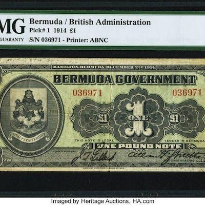 Bermuda Bermuda Government 1 Pound 2.12.1914 Pick 1 PMG Very Fine 25. ...