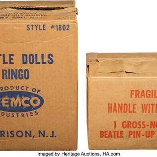 Two Beatles Remco Doll and Mastro Empty Shipping Box (1964) . ...