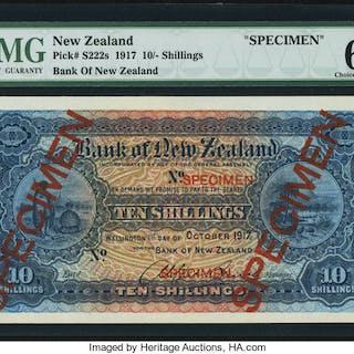New Zealand Bank of New Zealand 10 Shillings 1.10.1917 Pick S222s