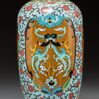 A Japanese Enameled Vase with Black Tie Crest 12 x 5 inches (30.5