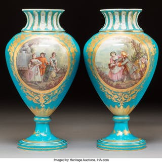 A Pair of Sèvres-Style Porcelain Vases, circa 1860 Marks: (interlaced