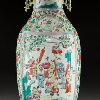 A Chinese Famille Rose Porcelain Vase Marks: Six-character seal 23-1/8
