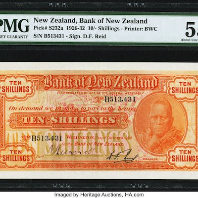 New Zealand Bank of New Zealand 10 Shillings 1.10.1928 Pick S232a