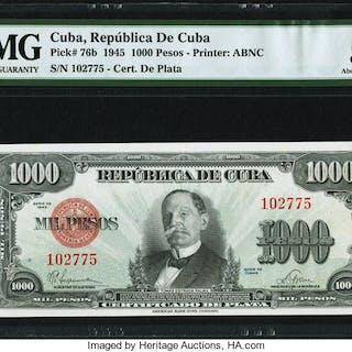 Cuba Republica de Cuba 1000 Pesos 1945 Pick 76b PMG About Uncirculated 53. ...