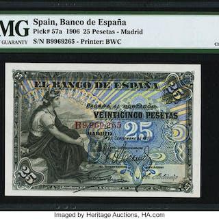 Spain Banco de Espana, Madrid 25 Pesetas 24.9.1906 Pick 57a PMG Choice