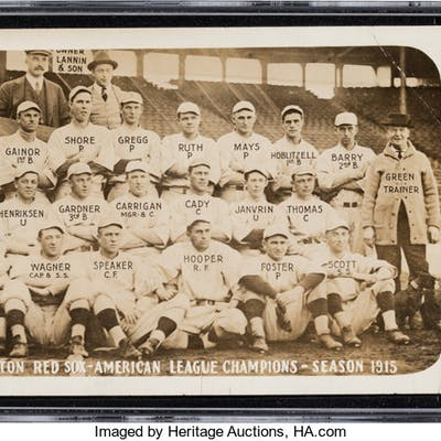 1915 Boston Red Sox Real Photo Postcard SGC Fair 1.5 with Rookie Babe Ruth.