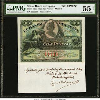 Spain Banco de Espana 100 Pesetas 15.7.1907 Pick 64as Specimen PMG