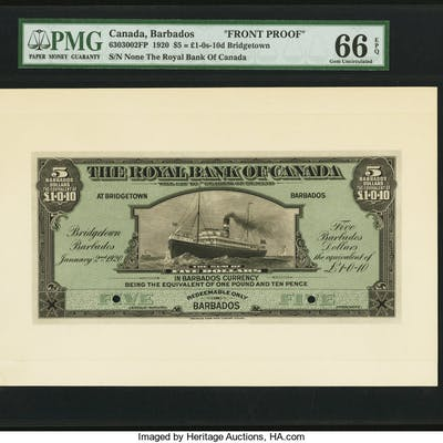 Canada Bridgetown, Barbados- Royal Bank of Canada $5 = 1 Pound-10