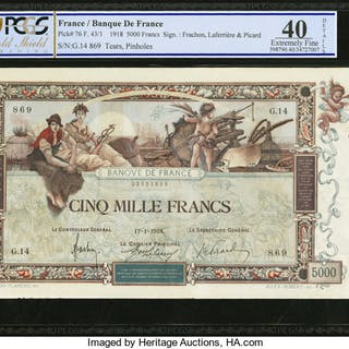 France Banque de France 5000 Francs 17.1.1918 Pick 76 PCGS Gold Shield