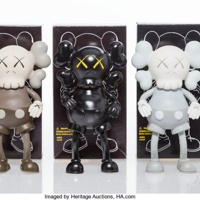 KAWS (American, b. 1974) Companion, set of three, 1999 Painted cast