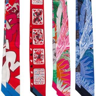 "Hermès Set of Four: Silk Twilly Scarves Condition: 1 2"" Width x 34"""