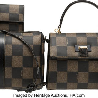 Fendi Set of Five: Brown Checkered Bags & Accessories Condition: 4