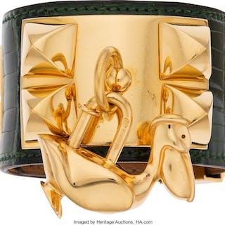 Hermès Set of Two: Emerald Alligator CDC Bracelet with Pelican Charm